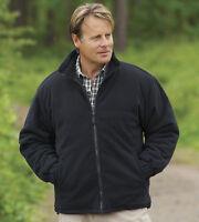Mens Padded Fleece Jacket Coat Anti Pill Quilted Warm Zip Pockets BLACK S-3XL