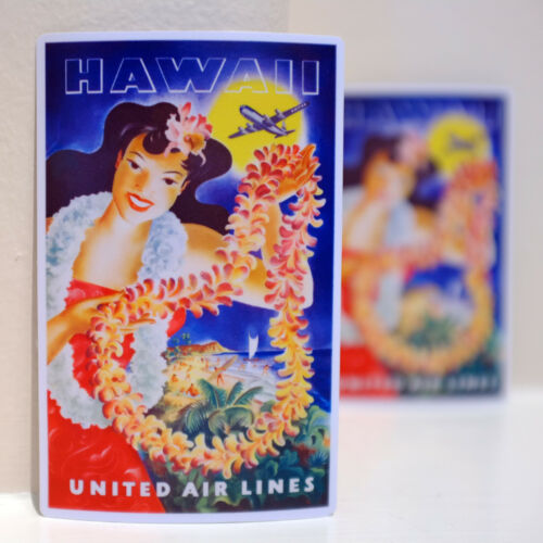 """#3251 Hawaii Pin Up United Air Lines Vintage 3x4/"""" Luggage Label Decal Sticker"""