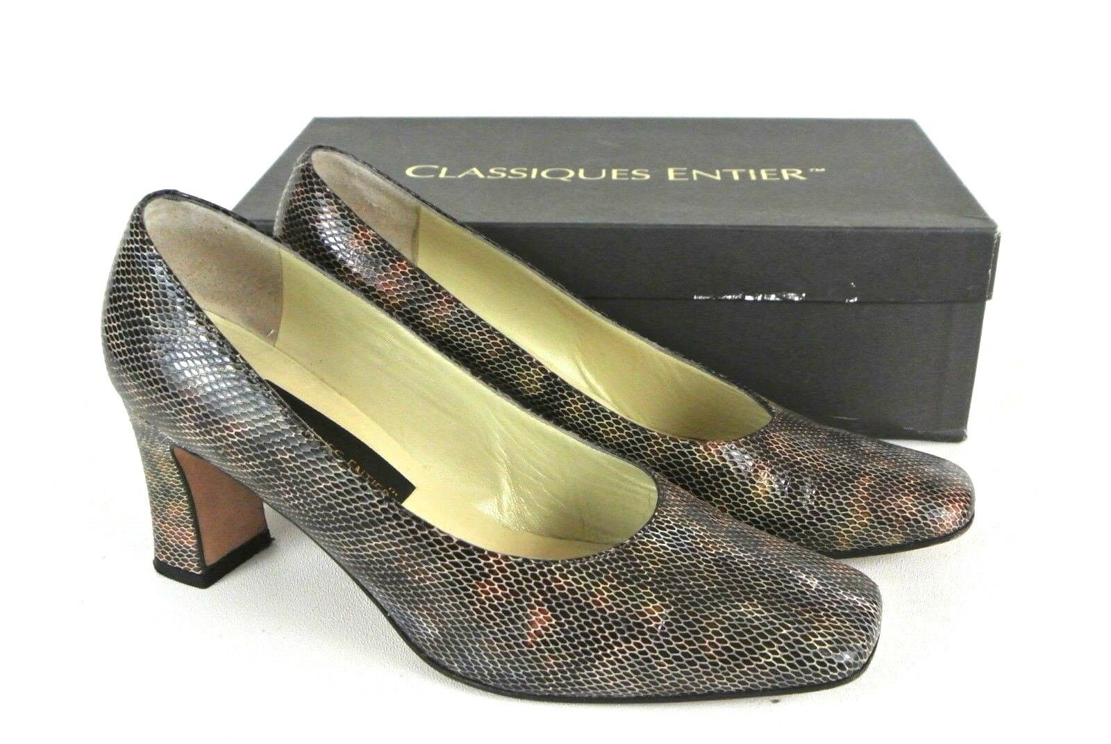 CLASSIQUES ENTIER Donna Snakeskin Leather Pumps 8.5M Wear *1008 To Work Slip On *1008 Wear 2e81f4