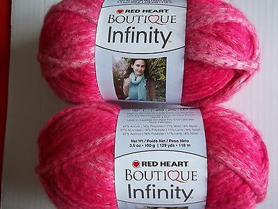 129 yds each Red Heart Boutique Infinity wool blend yarn Blossom lot of 2