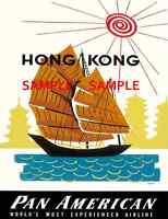 Pan American - Air Lines - 8.5 X 11 Travel Poster - [ Hong Kong ] -