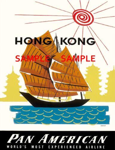 """Pan American HONG KONG 8.5/"""" X 11/""""  Travel Poster  - Air Lines"""