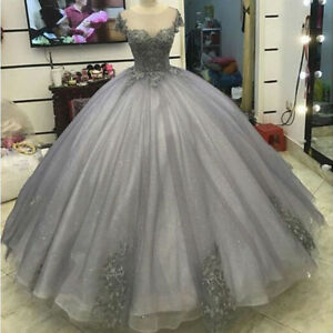 Silver-Appliques-Lace-Princess-Quinceanera-Ball-Gown-Cap-Sleeve-Prom-Party-Dress