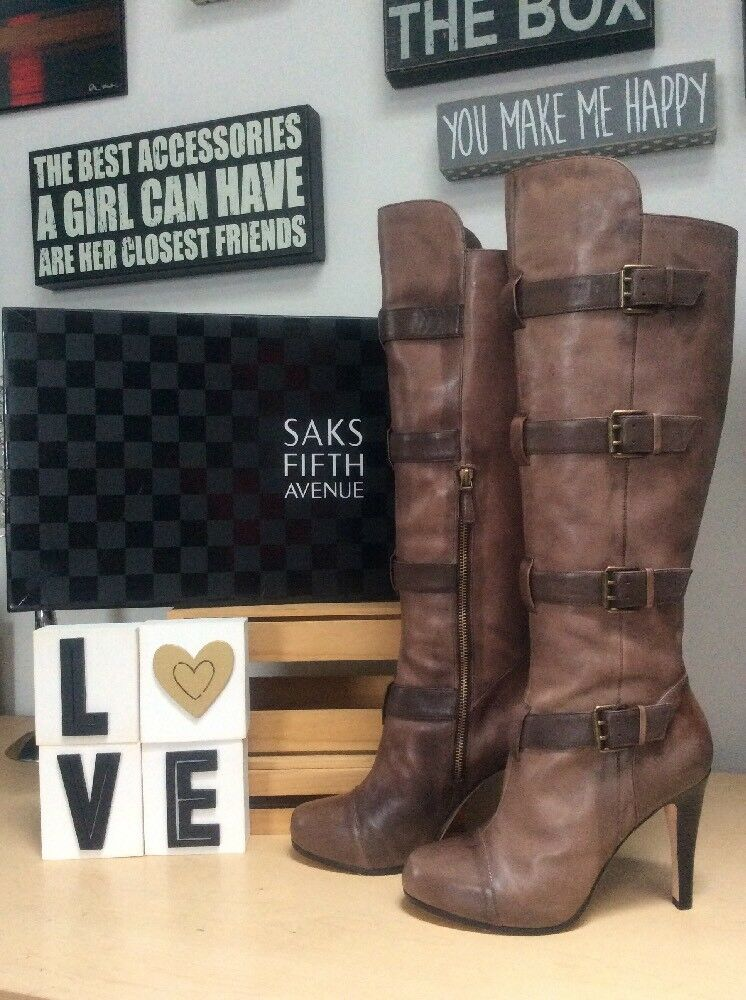 garanzia di credito SAKS FIFTH AVE Tamra Curio Vintage Vitello Leather Leather Leather Buckled KneeHigh stivali 9M EUC  bellissima