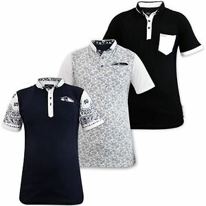 Mens-T-Shirts-PK-Polo-Shirt-Printed-Collar-Cotton-Top-Multi-Color-Sizes-S-XL
