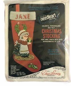 Edna-Looney-Original-Christmas-Stocking-Mrs-Santa-Red-Felt-Needleart-NIP