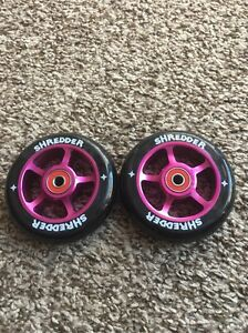 Metal Core Pro Scooter Wheels Black With Purple Cores Shredder Reds Bearings