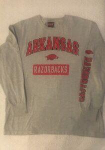 Men-s-NCAA-Arkansas-Razorbacks-Shirt-Large-Gray-Long-Sleeve