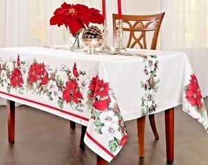 Image Is Loading Botanical Poinsettia Tablecloth 60 X 84 Oblong Peace