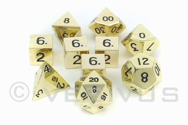 DICE Metal Mk 2 - Full BRONZE Set - d20 Shiny Heavy RPG D&D Alloy 10-Dice gold