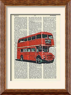 Art Print - Red Routemaster Bus - British Icons - Antique Book Page