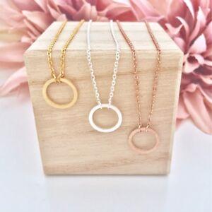 Das Bild wird geladen Damen-Halskette-Anhaenger-Open-Circle-Kreis-Rund- Rosegold- 077da6914b