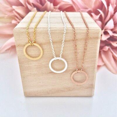 Damen Halskette Anhänger Open Circle Kreis Rund Rosegold Gold Silber Edelstahl