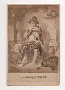 Vintage-CDV-Album-Filler-Humour-Inconvience-of-a-single-Life-Man-sewing-Clothes