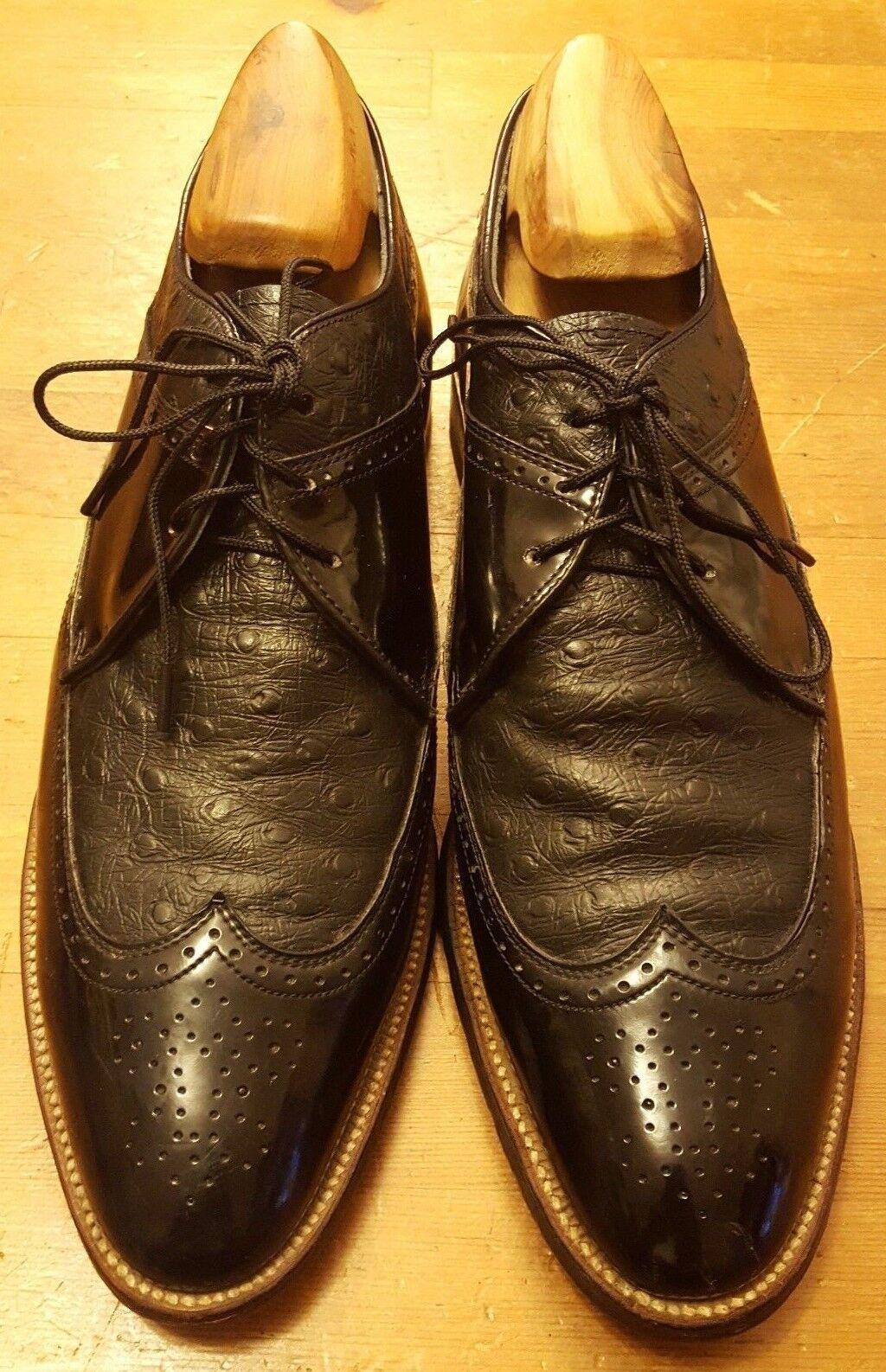 connotazione di lusso low-key Vintage, Stacy Adams, Adams, Adams, nero, Patent Leather Leather, Wing-Tips scarpe (Sz 9D)  vendita online