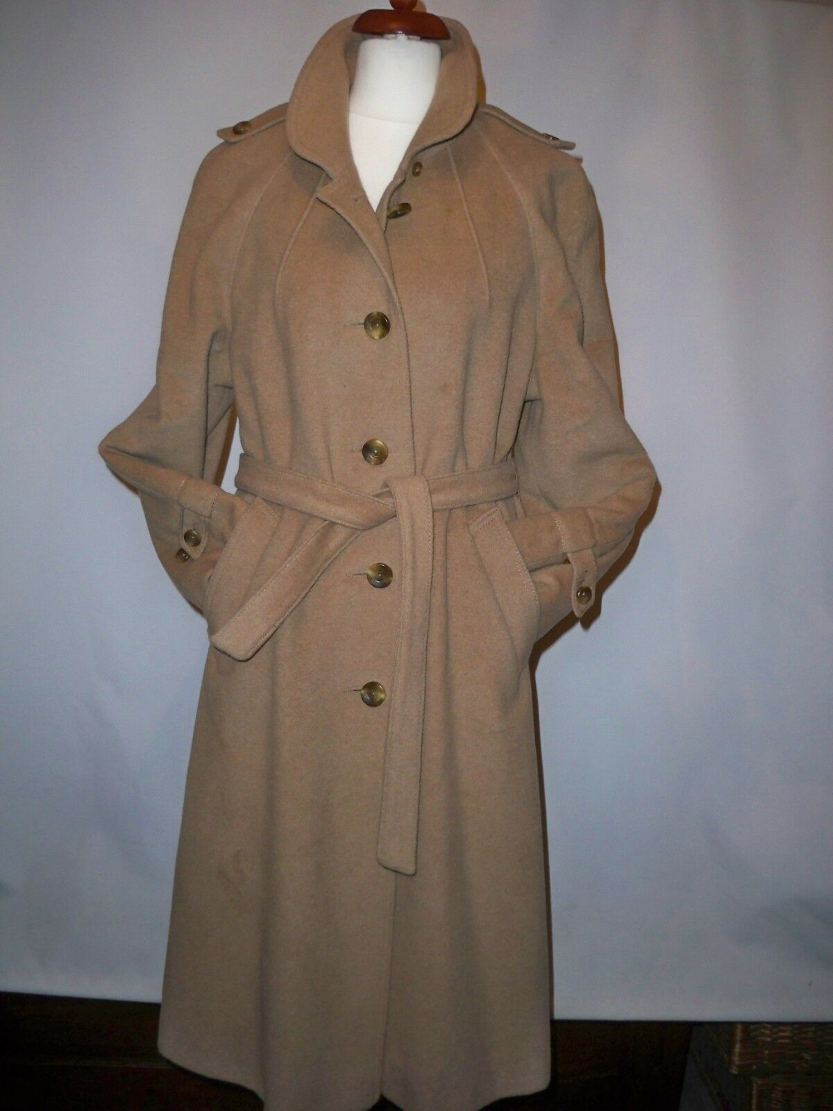 VINTAGE JONELLE CASHMERE TRENCH COAT SIZE FITS MADE IN ENGLAND
