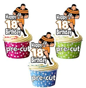 Image Is Loading 18th Birthday Rugby Themed Precut Edible Cup Cake