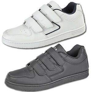 Mens-New-Black-White-Flat-Sole-Touch-Fastening-Trainers-Free-UK-Shipping