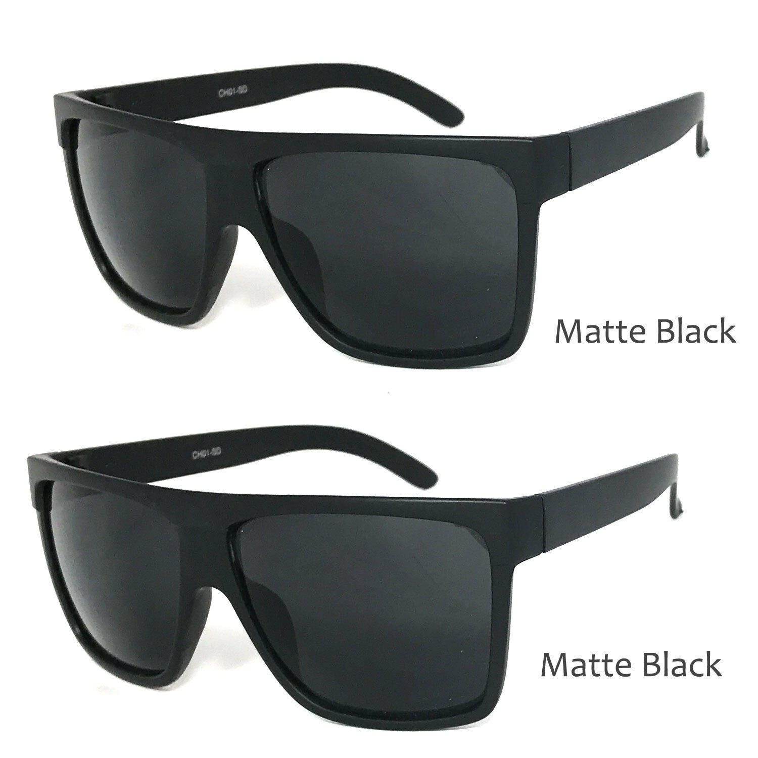 6d926691b7a6 You are bidding on 2 of the above. 2 Pairs Large Flat Top Sunglasses Matte  Black ...