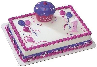 Pink Cupcake Keepsake Decoset Cake Kit Baby Girl First Birthday Ebay