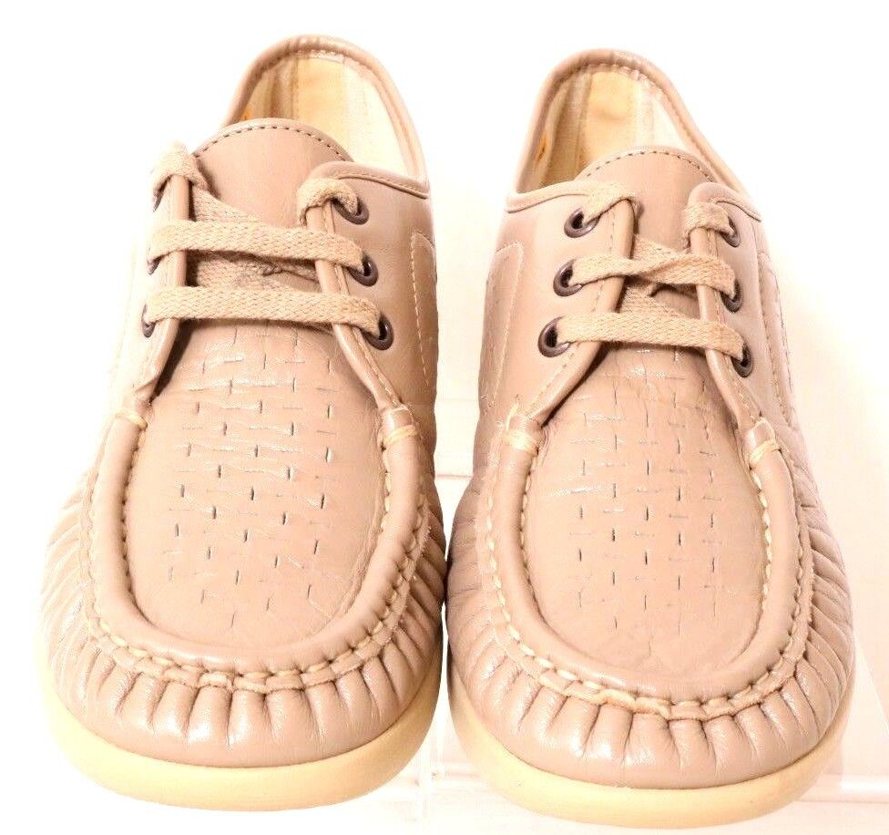 SAS Bounce Taupe Leather Perforated Moc Wedge Comfort Weave Shoes Women's 9.5N