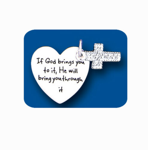 Cross Tag Silver Pendant If God Brings You To It He Will Bring You Through It