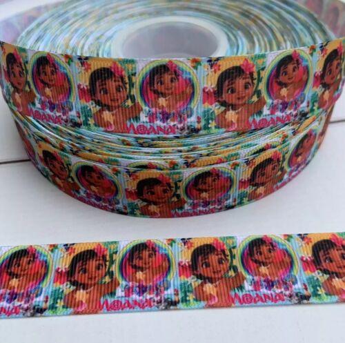 "3 yards 7//8""Multicolor Baby Moana  Grosgrain Ribbon DIY Hair Bow"