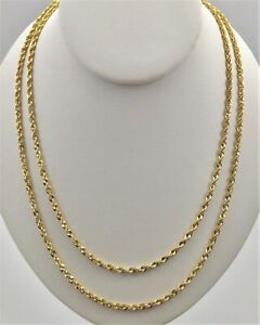 10K-Solid-Yellow-Gold-3mm-Necklace-Gold-Rope-Chain-16-034-18-034-20-034-22-034-24-034-26-034-30-034