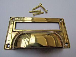 Laiton Massif Victorien Placard Filing Cabinet Carte Porte-étiquette Cup Pull Poignée-afficher Le Titre D'origine Fhyul2zk-07175106-766300045