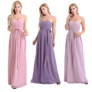 Damen Tragerlos Cocktail Kleider Chiffon Lang Brautjungfernkleid Abendkleider Ebay