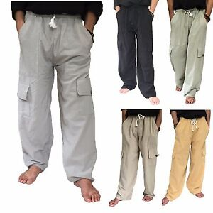 Men-039-s-100-Cotton-Cargo-Pants-One-Size-baggy-pants-Drawstring-Elastic-Waist