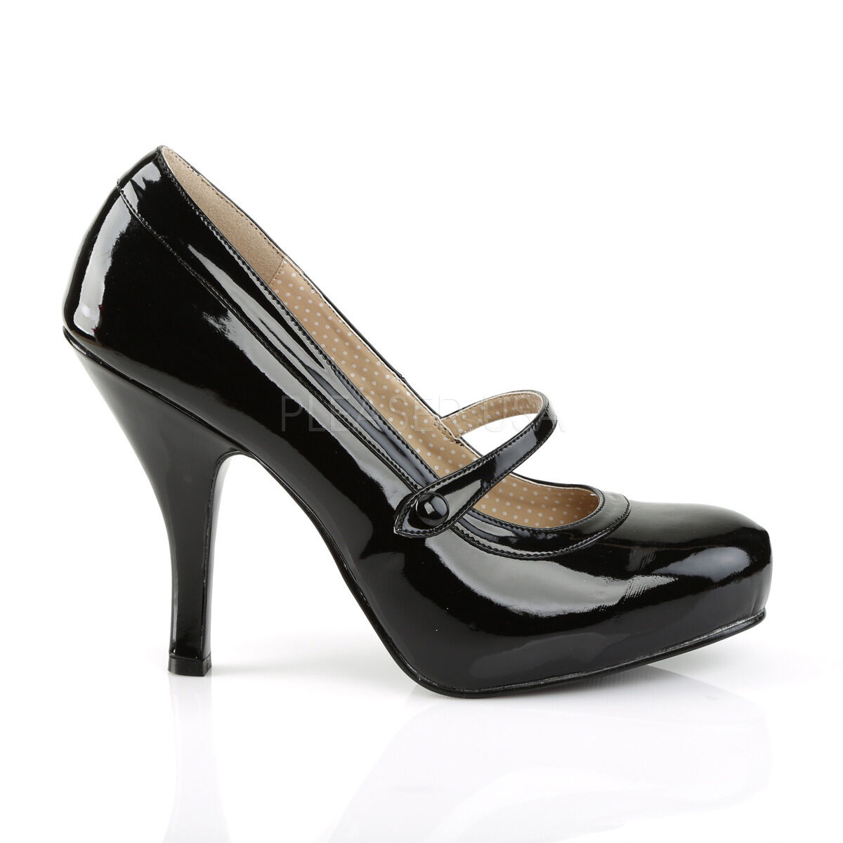 Sexy Retro Pinup 4 1 2    Heel Hidden Platform Black Patent Mary Jane Pumps shoes b0b158