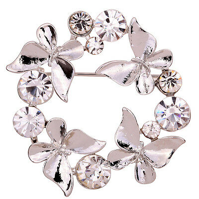 Grace Silver Butterfly Diamante Rhinestone Crystal Brooch Lady Wedding Party