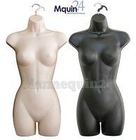 2 Mannequin Females - Flesh & Black Plastic Torso Dress Body Forms With Hangers