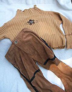 Toddler-Girl-Tan-Brown-Flower-SWEATER-n-Brown-PANTS-3T-Winter-lot