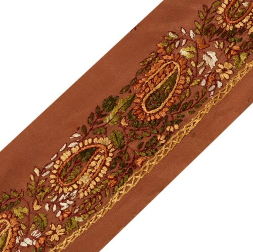 Vintage Sari Border Indian Craft Trim Hand Embroidered Sewing Ribbon Lace