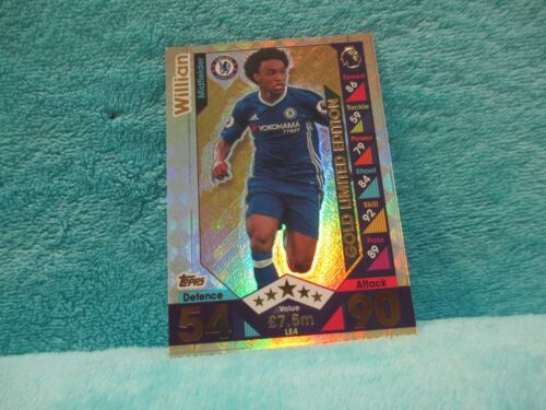 Match Attax attaque 16//17 2016//17 LE4 Willian Gold Limited Edition Comme neuf