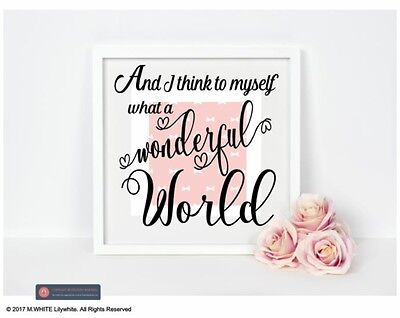 And I think to myself what a Wonderful World - Vinyl Sticker for IKEA BOX FRAME