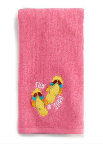Flip Flops Bath Hand Towel Celebrate Summer Together 16x25 Pink NWT