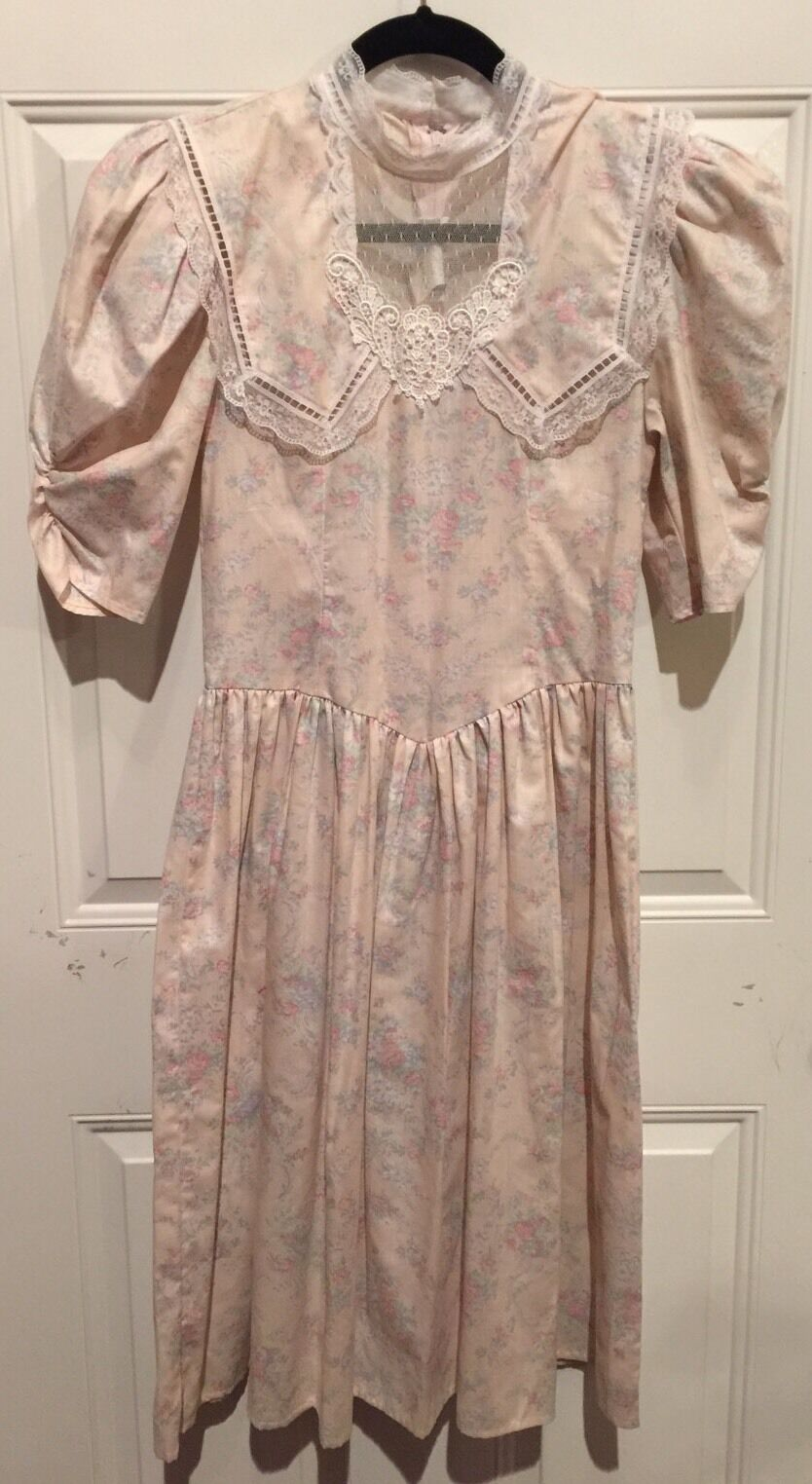 Vtg 70s Gunne Sax Dress Boho Conservative Wedding Floral Lace Hippie Mint Size 8