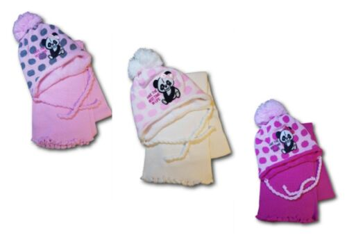 Baby Toddler Girl Winter Panda Acrylic Hat With Strings and Scarf Set 4-6Months