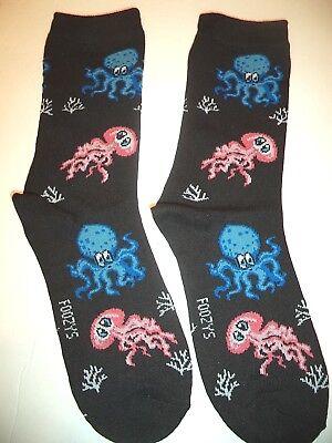 """Ladies Foozys /""""Bluebirds/"""" Black Socks Ladies Size 9-11"""