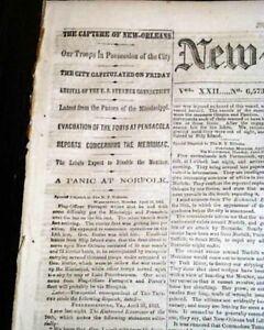 Historic-CAPTURE-OF-NEW-ORLEANS-Louisiana-by-Farragut-1862-Civil-War-Newspaper