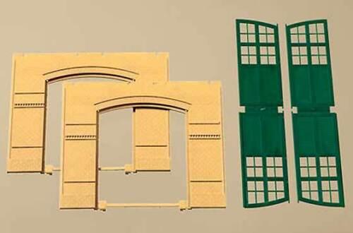cancelli Verde giallo AUHAGEN h0 costruzione modulare System 80605: 2 pareti 2326a
