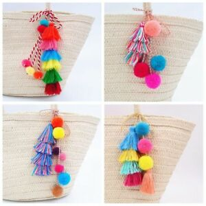 Colorful-Cool-Tassel-PomPom-Pendant-DIY-For-Keychain-Bag-Charm-Accessories