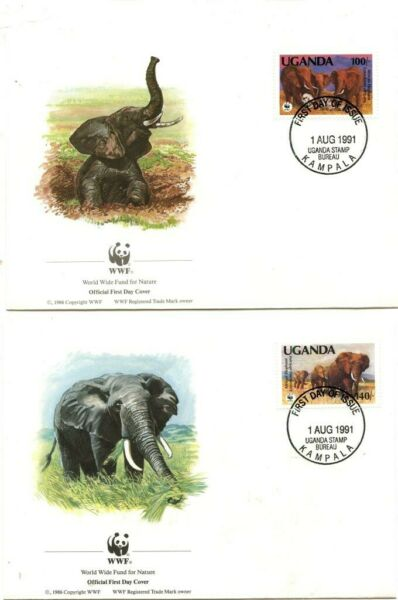 L'ouganda Timbres: Elephant Set Sur 1st Day Cover 1991-world Wide Fund For Nature Couleurs Harmonieuses