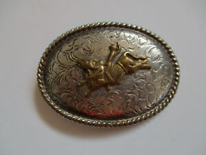 vintage-Bull-Riding-Mexico-championship-cowboy-rodeo-belt-buckle