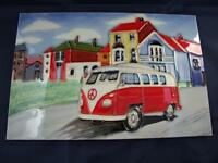 Ceramic Picture Tile Plaque On My Way Vw Campervan 8 X 12 Inches.