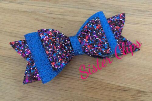 "Girls Handmade royal blue mix glitter 4/"" bow hair clip"