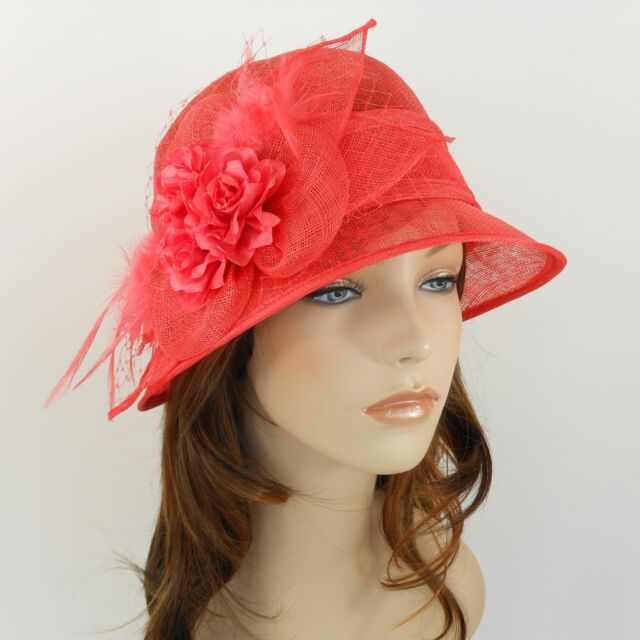 61c4b7fe94a82 Woman Church Derby Wedding Sinamay Ascot Cloche Dress Hat 2471 Hot Pink